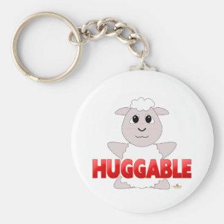 Huggable White Sheep Red Huggable Keychain