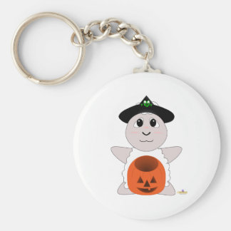 Huggable Witch White Sheep Basic Round Button Key Ring