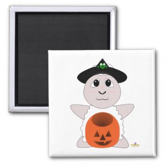 Huggable Witch White Sheep Square Magnet