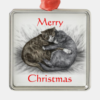 Hugging Cats Sleeping Christmas Ornament