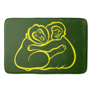 Hugging Monkeys, green jungle at your home Bath Mat