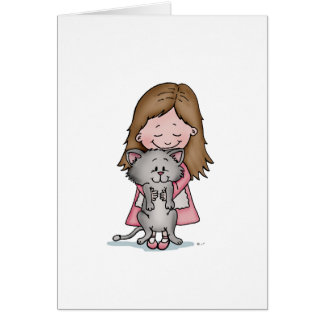 Hugging my Kitten - Design for Cat Lovers Greeting Card