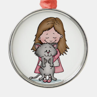 Hugging my Kitten - Design for Cat Lovers Christmas Ornament