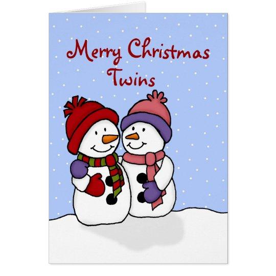 Hugging snowmen twins Christmas card