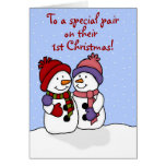Hugging snowmen twins Christmas card