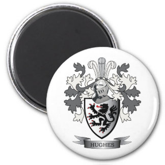 Hughes Family Crest Coat of Arms 6 Cm Round Magnet