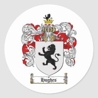 HUGHES FAMILY CREST -  HUGHES COAT OF ARMS ROUND STICKER
