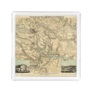 Hughes Military Map Of Richmond and Petersburgh Acrylic Tray