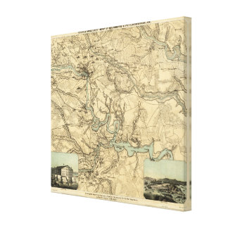 Hughes Military Map Of Richmond and Petersburgh Canvas Print