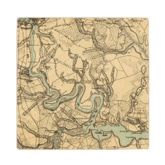 Hughes Military Map Of Richmond and Petersburgh Maple Wood Coaster