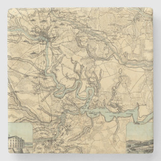 Hughes Military Map Of Richmond and Petersburgh Stone Coaster