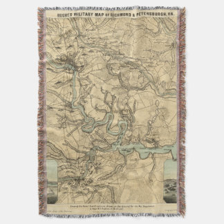 Hughes Military Map Of Richmond and Petersburgh Throw Blanket