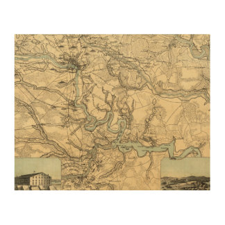 Hughes Military Map Of Richmond and Petersburgh Wood Wall Decor