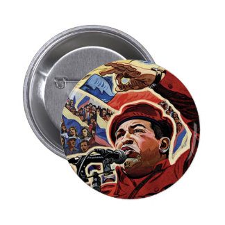 Hugo Chavez - Cartoon Revolution style 6 Cm Round Badge