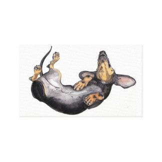 Hugo the dachshund sleeping canvas wall art