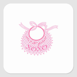 HUGS AND KISSES BABY BIB SQUARE STICKERS