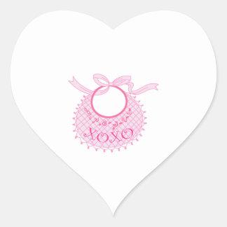 HUGS AND KISSES BABY BIB HEART STICKERS