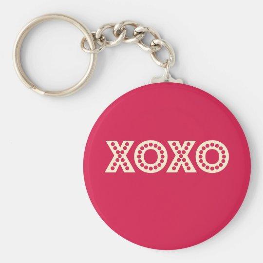 Hugs and Kisses Basic Round Button Key Ring