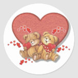 Hugs and Kisses Bears Round Stickers