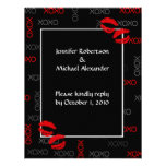 Hugs and Kisses Black Red Wedding Response Cards Personalized Invitation