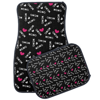 Hugs And Kisses Black White With Pink Love Hearts Car Mat