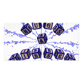 Hugs and Kisses toy blocks in blue Photo Card