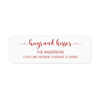 Hugs and Kisses Valentine's Day  Address Labels