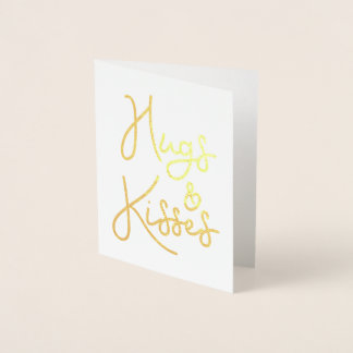 """""""Hugs and Kisses"""" Valentine's Day Photo Foil Card"""