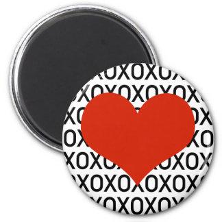 Hugs, Kisses & a Big Heart 6 Cm Round Magnet