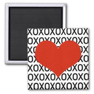 Hugs, Kisses & a Big Heart Square Magnet