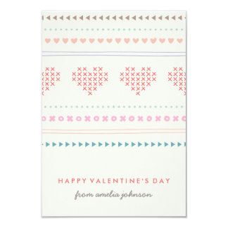 Hugs & Kisses Classroom Valentine - Ivory 9 Cm X 13 Cm Invitation Card