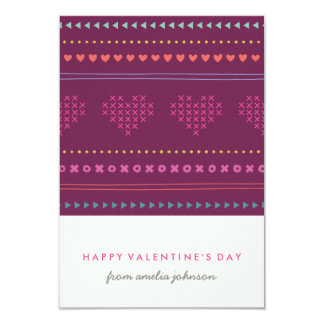 Hugs & Kisses Classroom Valentine - Plum 9 Cm X 13 Cm Invitation Card
