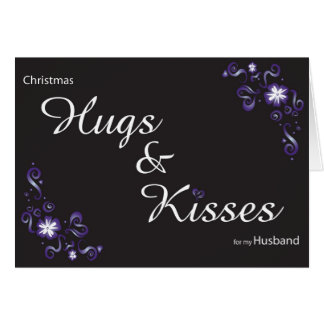 hugs&kisses for my husband greeting card