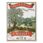 Huile d'Olive French retro advertisement Poster