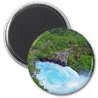 Huka Falls on the Waikato River, New Zealand 6 Cm Round Magnet