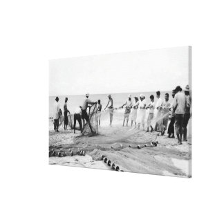 Hukilau Nets men Fishing Hawaii Surf Photograph Canvas Print