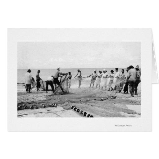 Hukilau Nets men Fishing Hawaii Surf Photograph Cards