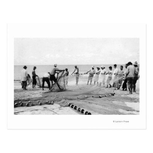 Hukilau Nets men Fishing Hawaii Surf Photograph Postcard