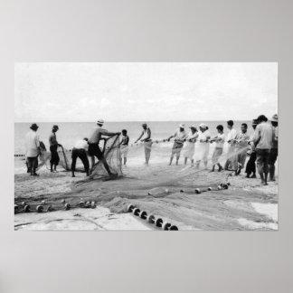Hukilau Nets men Fishing Hawaii Surf Photograph Poster