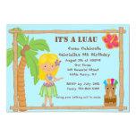 "Hula Blonde Girl Luau Birthday Invitation 5"" X 7"" Invitation Card"