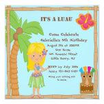 "Hula Blonde Girl Luau Square Birthday Invitation 5.25"" Square Invitation Card"