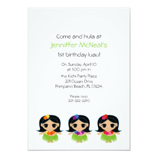 hula cutie BIRTHDAY luau party invitation
