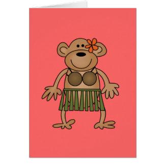 Hula Dancing Monkey Tshirts and Gifts Greeting Card