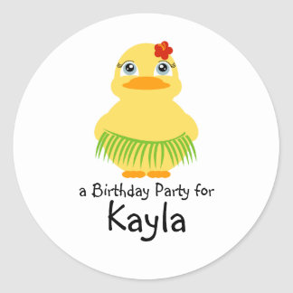 hula ducky BIRTHDAY luau party favor sticker