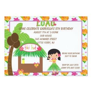 Hula Girl  at Tiki Hut Birthday Invitation