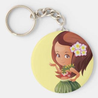 Hula girl basic round button key ring
