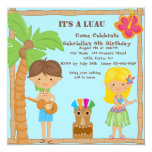 Hula Girl & Boy Luau Square Birthday Invitation