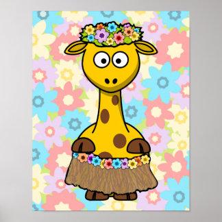 Hula Girl Giraffe Posters