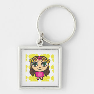 Hula Girl in Pink-Yellow Background Key Ring