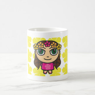 Hula Girl in Pink-Yellow Background Mug
